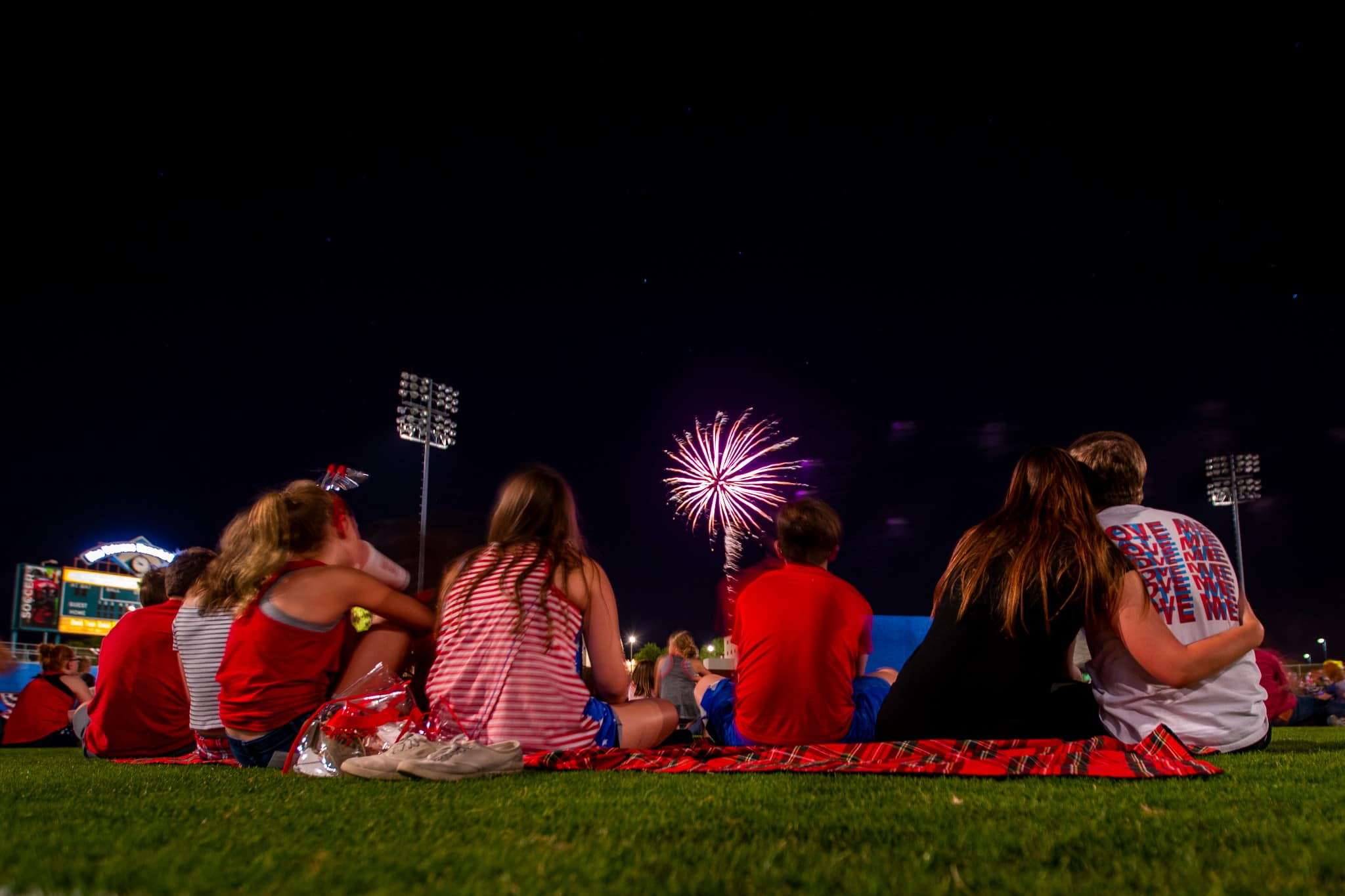 Friends and Family enjoying Fireworks