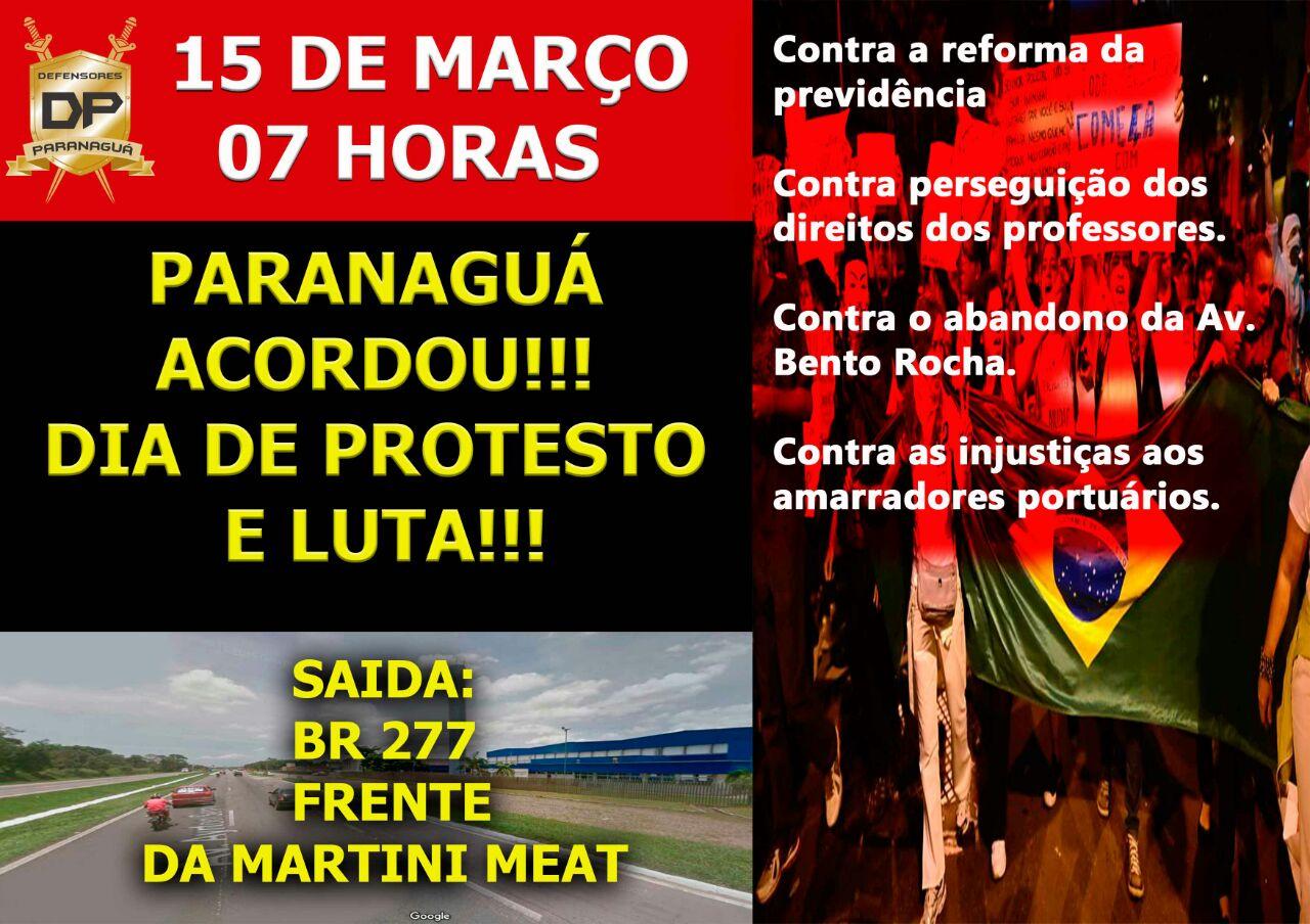 Photo of Paranaguá organiza mobilização de protesto nesta quarta-feira (15)