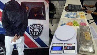 Photo of ROMU flagra rapaz com grande quantidade de ecstasy e maconha em Paranaguá