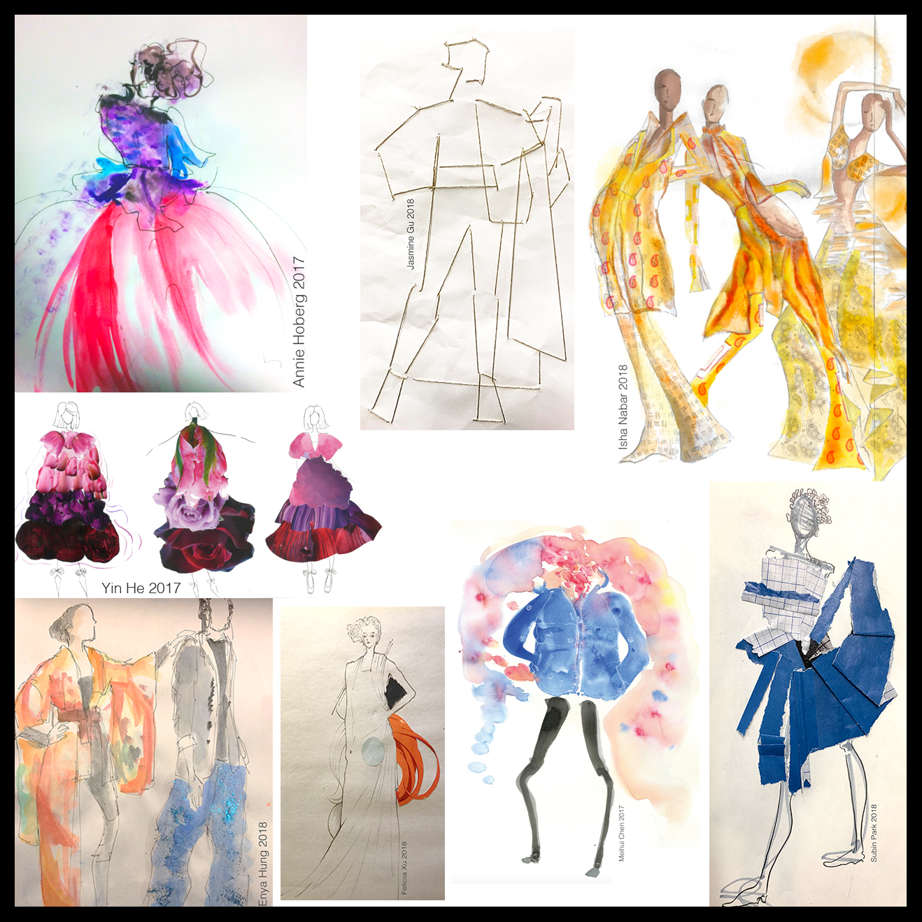 Collage of various pieces of student work