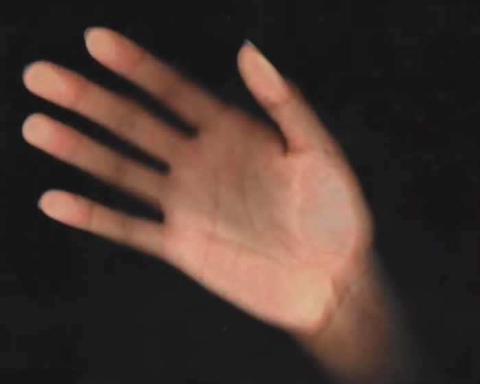 Screen capture of Emily Starobrat youtube video -- Shows a palm in front of a black background