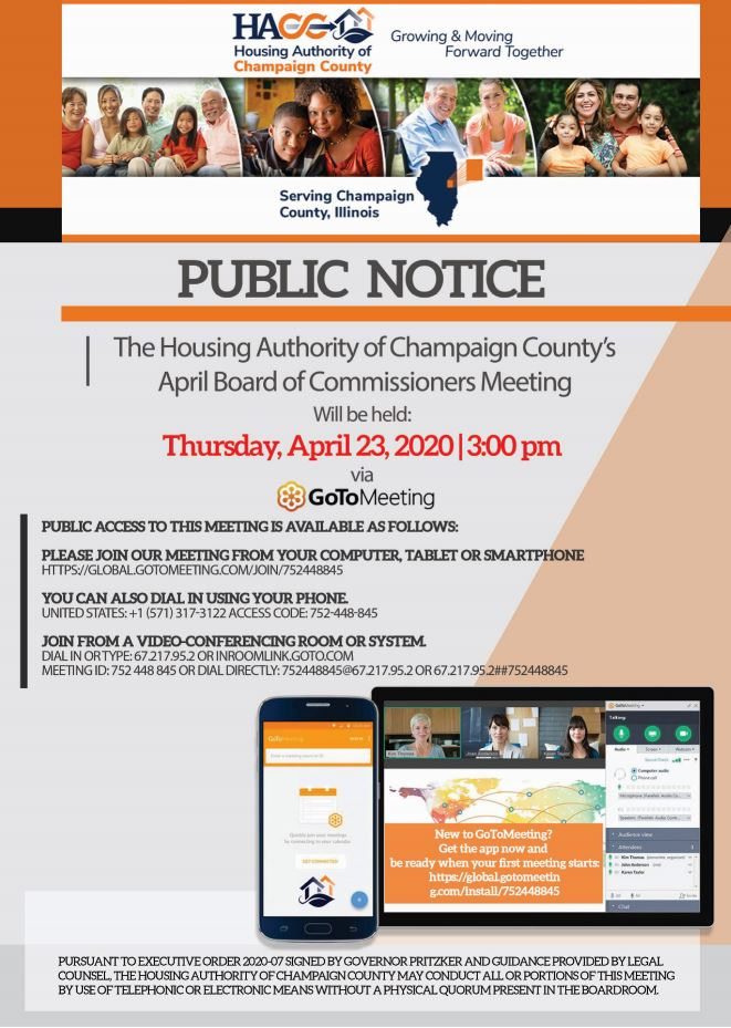 April Board of Commissioners Meeting via GoToMeeting