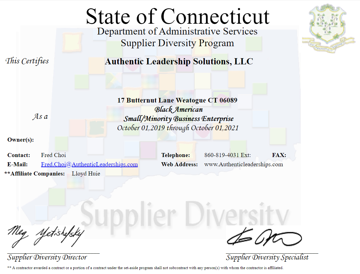 Certified by State of Connecticut