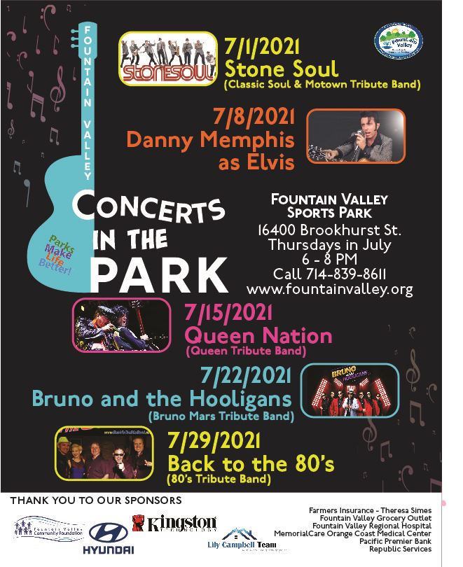 2021 Concerts in the Park Schedule