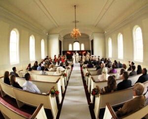 The church during the wedding