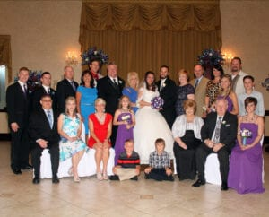 The newlyweds and their families