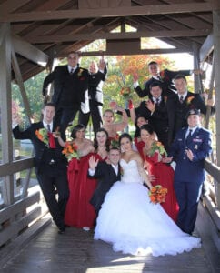 The bride and the groom and their wedding party