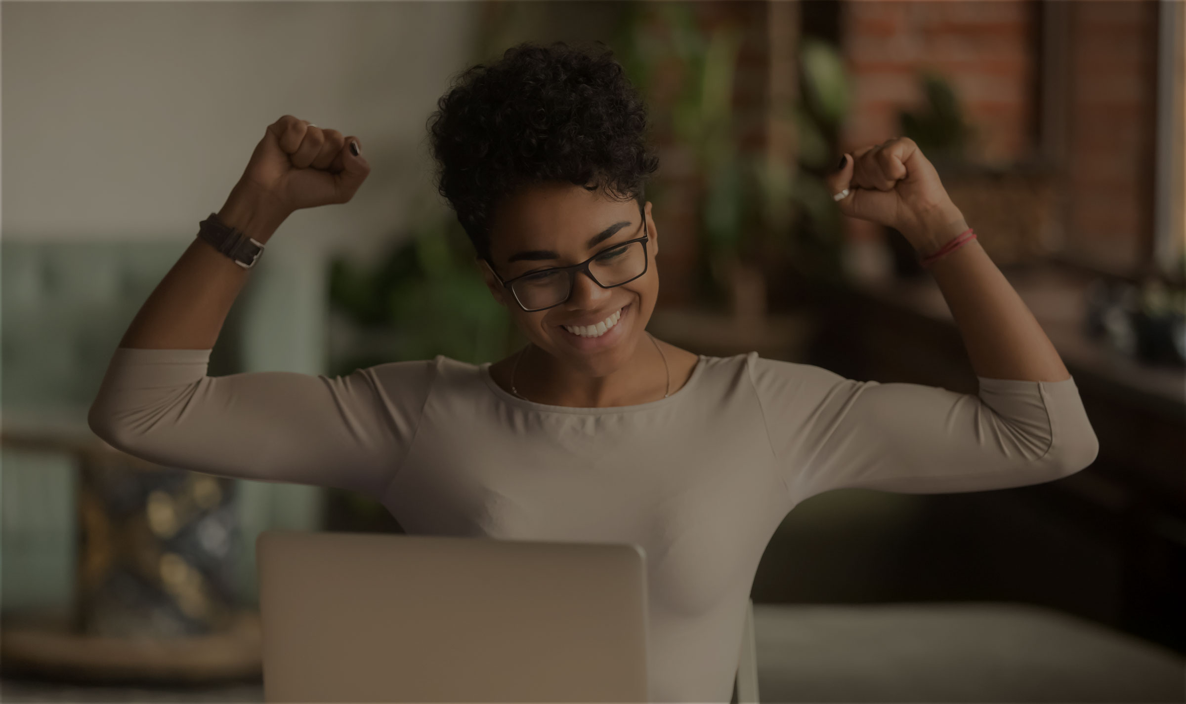 Happy woman who leveraged good news to her benefit because it has market value.