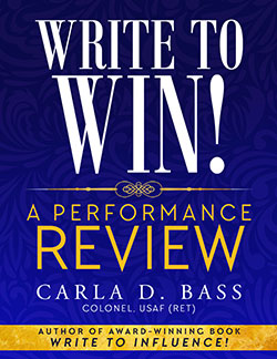 """Cover of e-book """"Write to Win! A Performance Review by Carla D. Bass"""