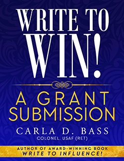 """Cover of e-book """"Write to Win! A Grant Submission by Carla D. Bass"""