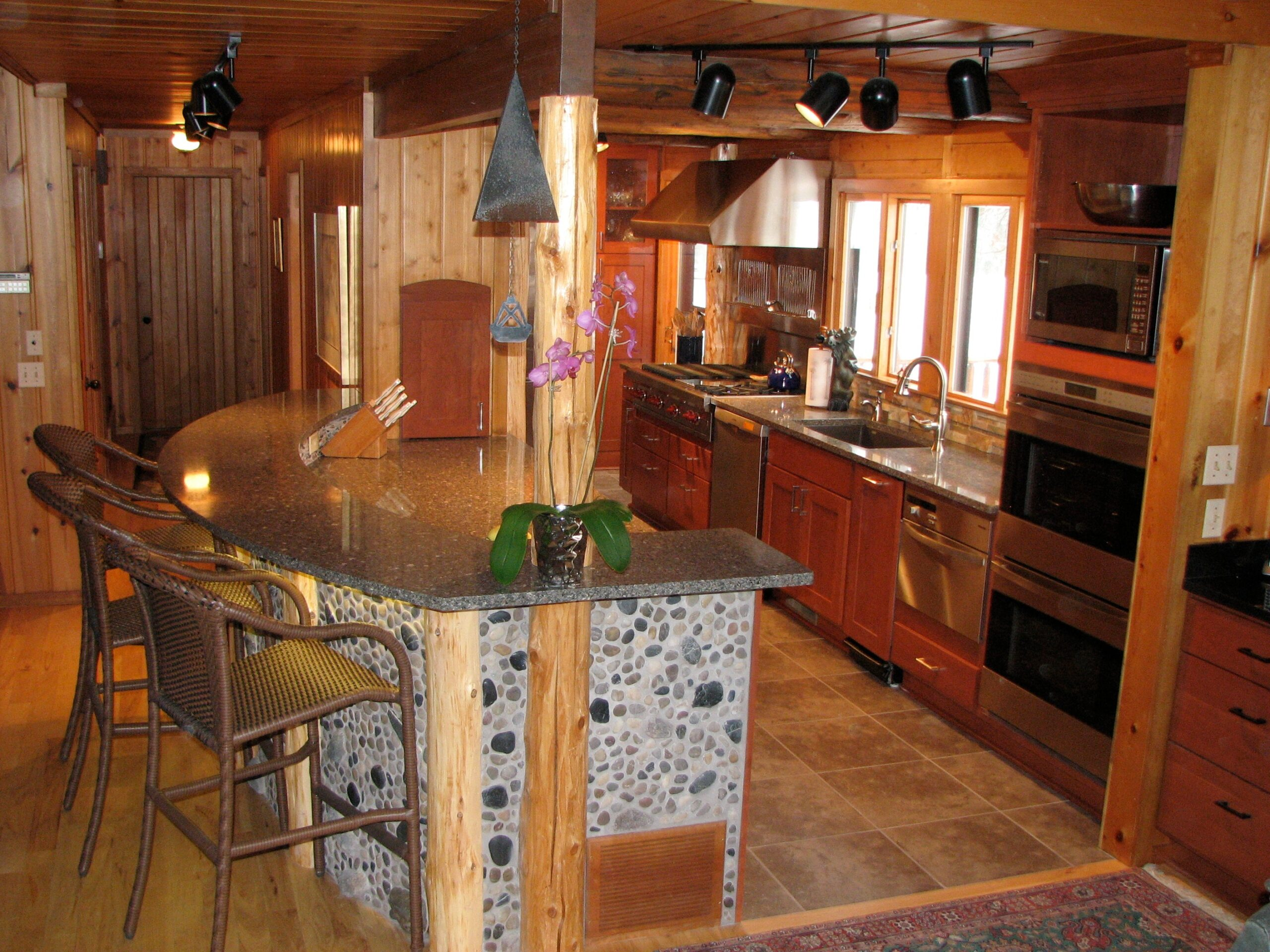 Downes Cabin Custom Kitchen Wood and Stone Finishes