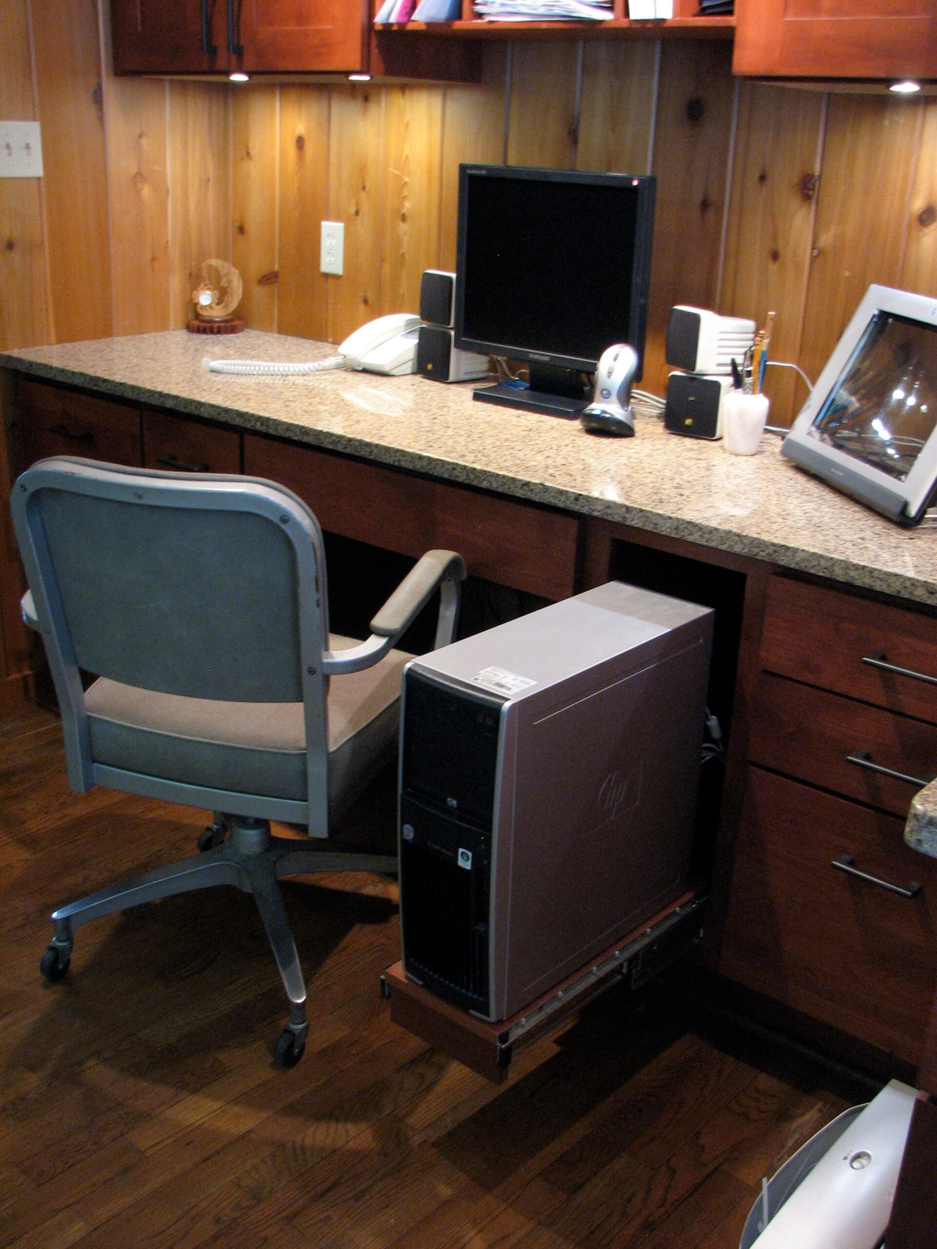 Downes Cabin Custom Office Desk and Computer Storage