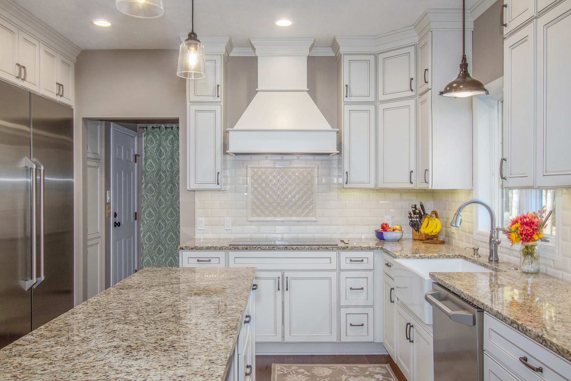 Ada Traditional Kitchen Renovation White Cabinets Custom Vent Hood