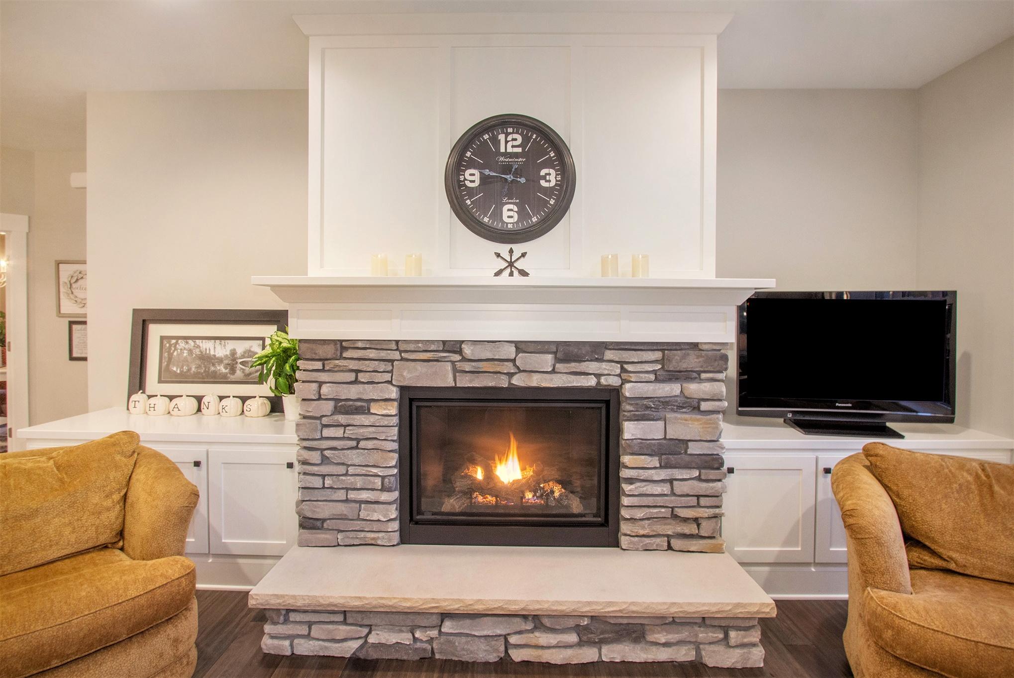 Custom Home Living Room Stone Fireplace