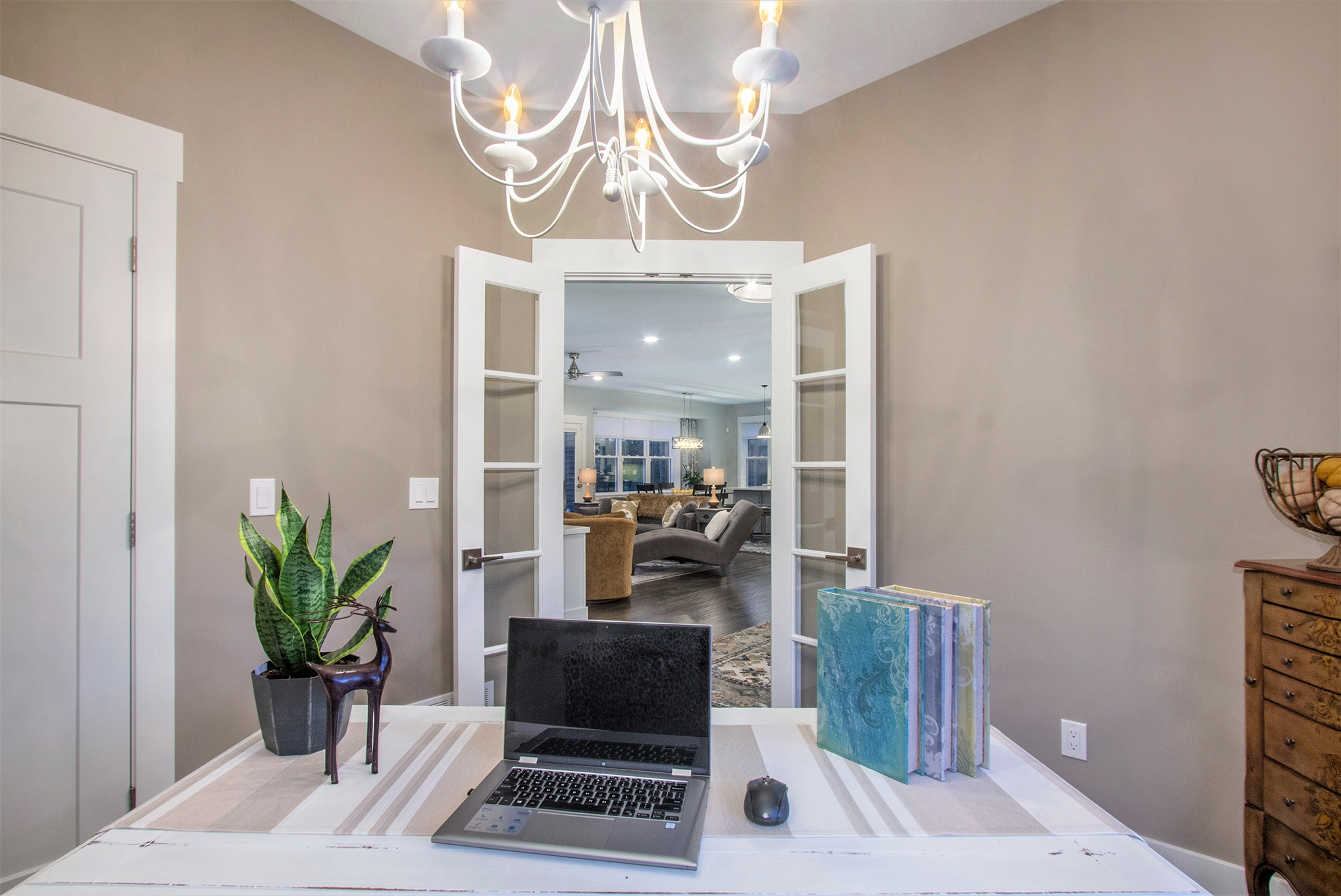 Custom Home Office off Living Room