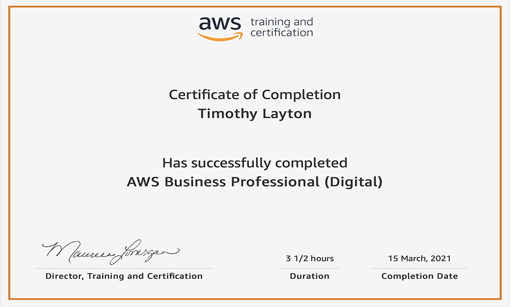 AWS Business Professional Certificate Tim Layton @ CloudSecurityLaunchPad.com