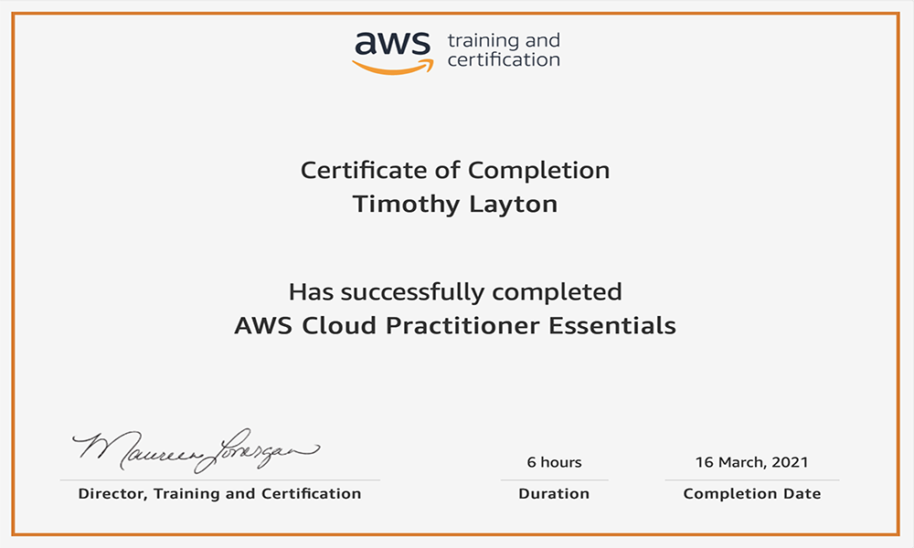 AWS Cloud Practitioner Essentials Certificate by Tim Layton @ CloudSecurityLaunchPad.com
