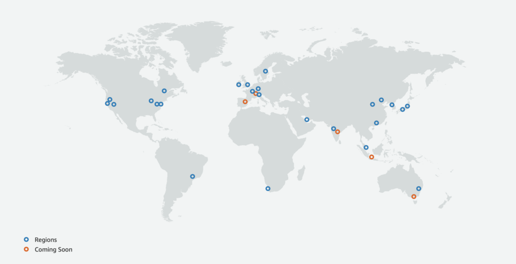 AWS Global Infrastructure Map (CloudSecurityLaunchPad.com)