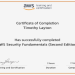 AWS Security Fundamentals 2nd Ed Certificate For Tim Layton @ CloudSecurityLaunchPad.com