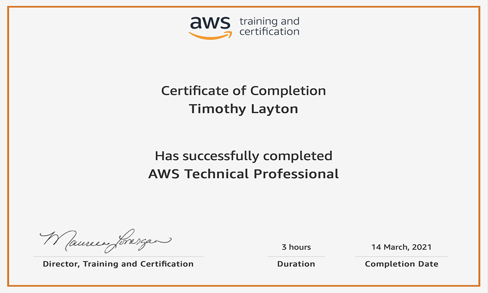AWS Technical Professional Certificate of Completion For Tim Layton @ CloudSecurityLaunchPad.com