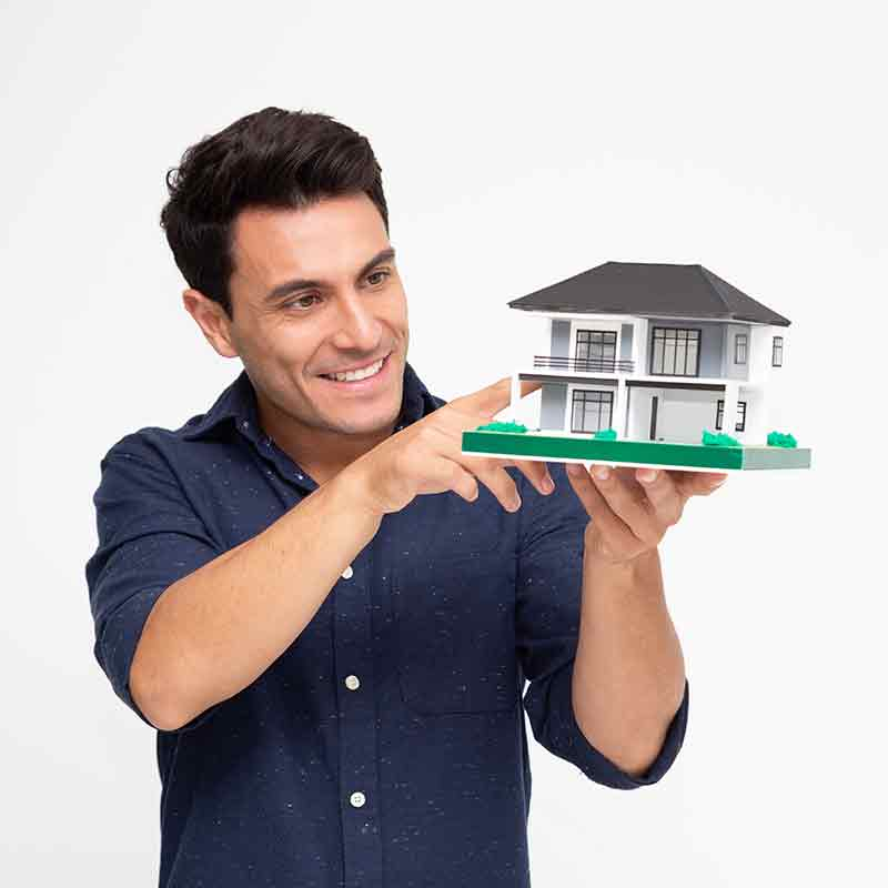 home inspector looking at model house