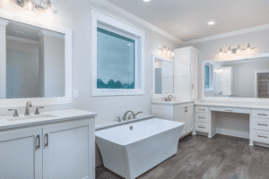 White bathroom angled to the left