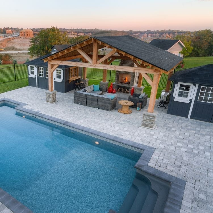 Outdoor entertainment area with pool