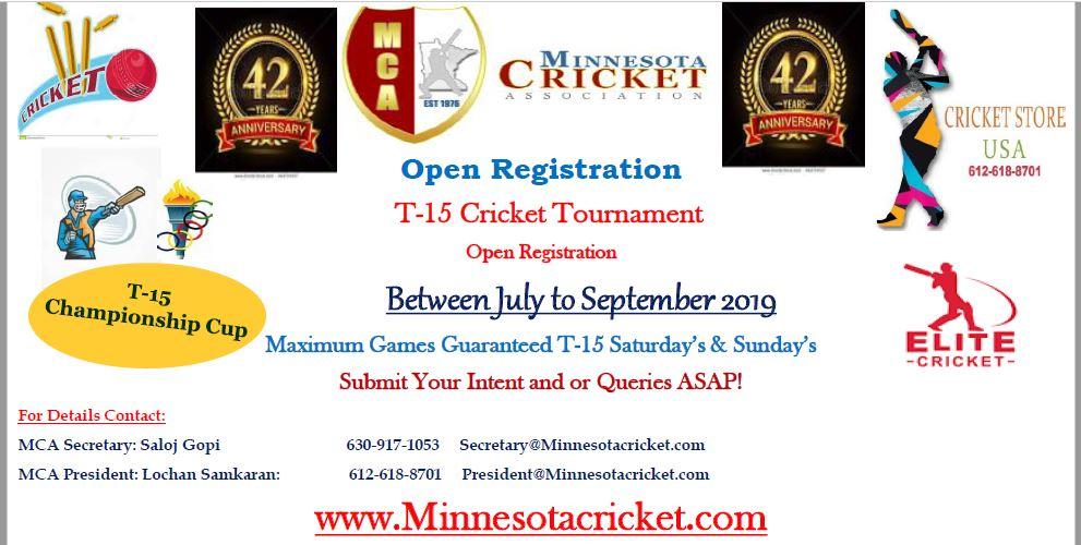 Registration Open for T-15 Cricket Tournament