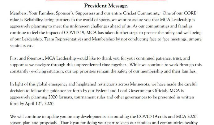 COVID-19 Message from President
