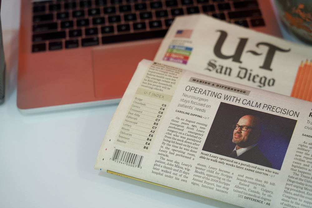 The San Diego Union Tribune newspaper article with Dr. Scott Leary