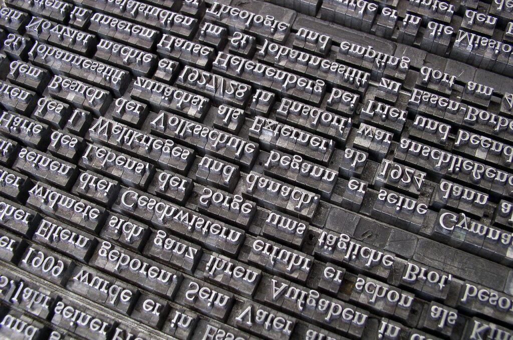 font, lead set, book printing