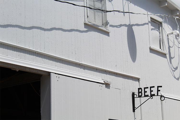 exterior of beef barn