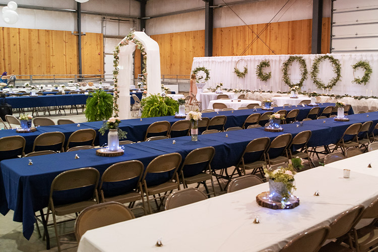 event center set up for wedding