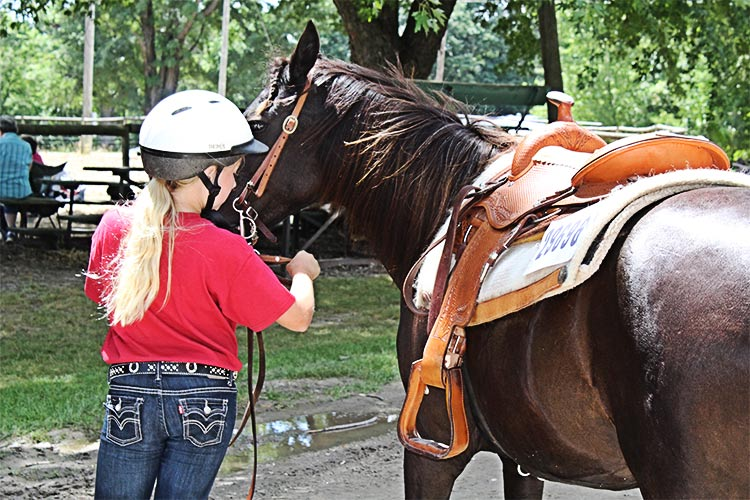 young girl taking care of a horse