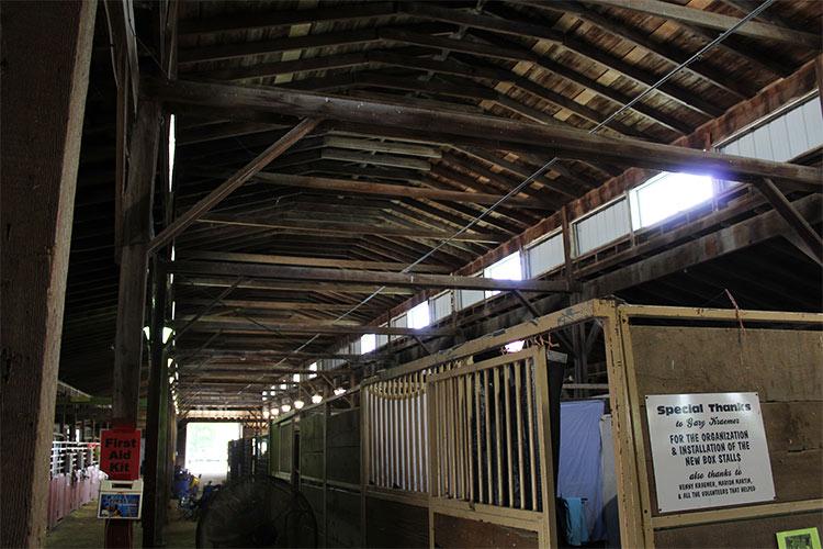 inside of horse barn