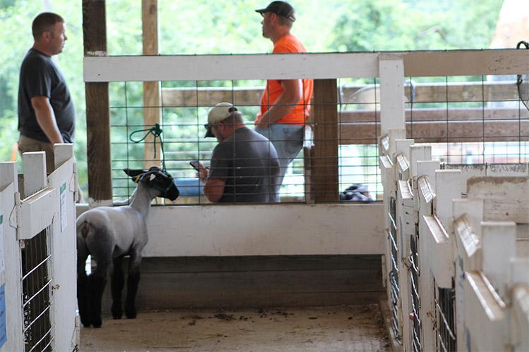 men talking in a barn