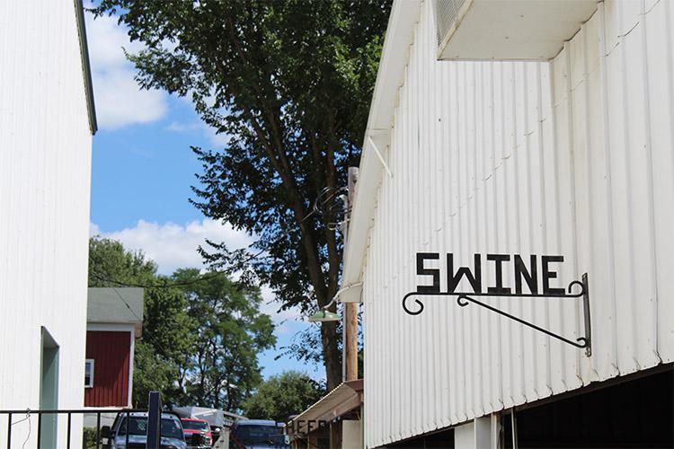 exterior of swine barn