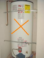 Poor water heater strapping