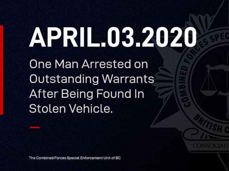 One Man Arrested on Outstanding Warrants After Being Found In Stolen Vehicle