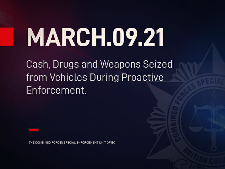 Cash, Drugs and Weapons Seized from Vehicles During Proactive Enforcement.