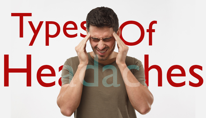 "Image of a man with a headache and the words ""Type of Headaches"" behind the man"