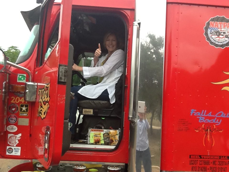 Pam Dunham checking out the MAPS truck
