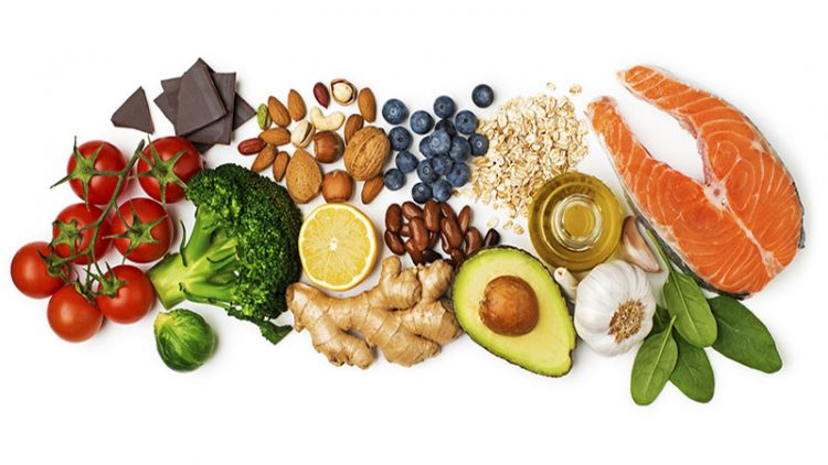 tomatoes, broccoli, nuts, and other foods