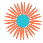 Orange starburst with turquoise center logo