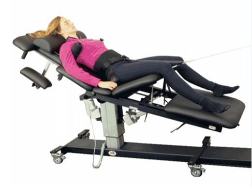 Woman receiving spinal decompression