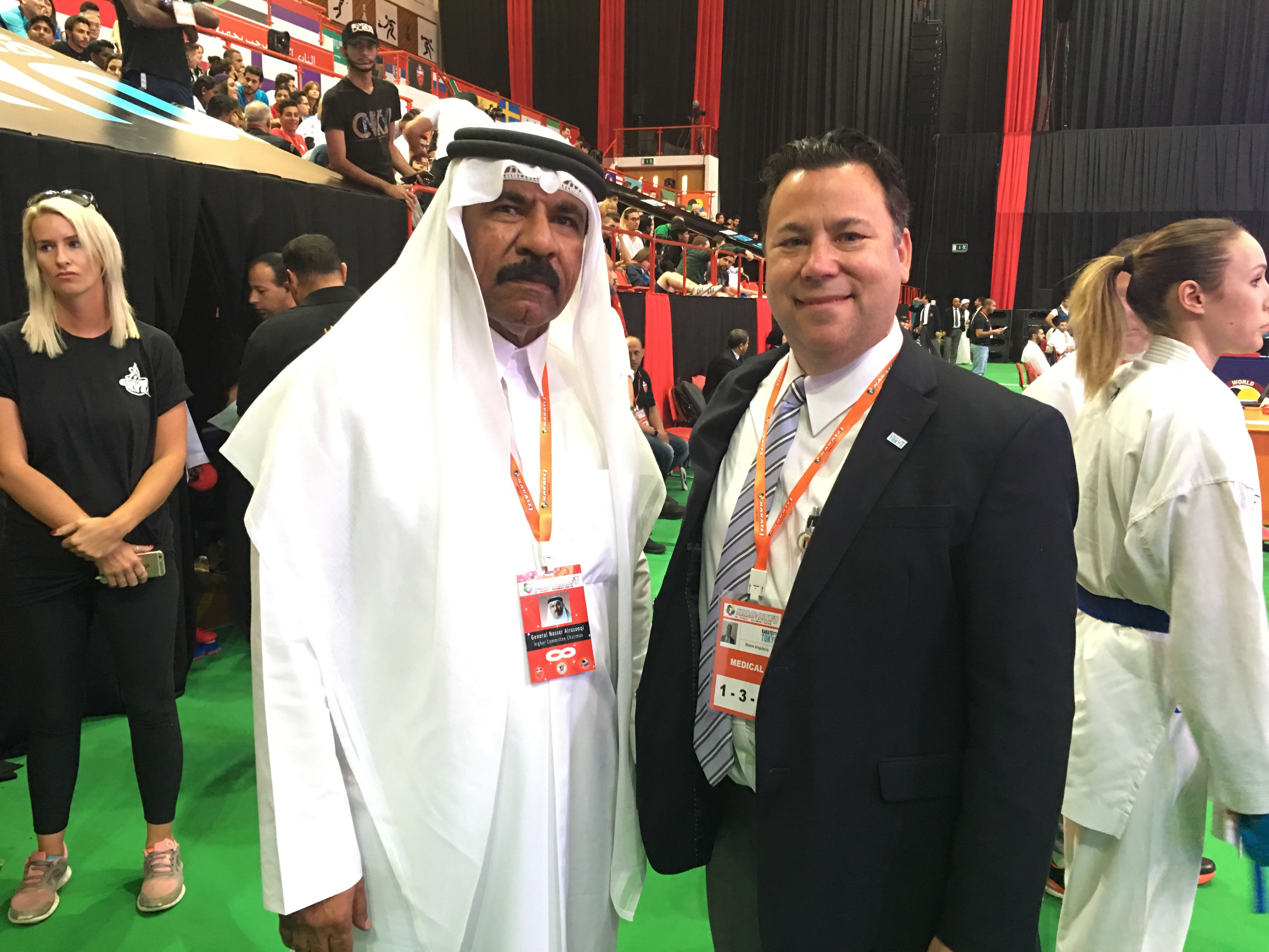 General Nassi, Vice President of the World Karate Federation -  Dubai and Dr. Kingsbury
