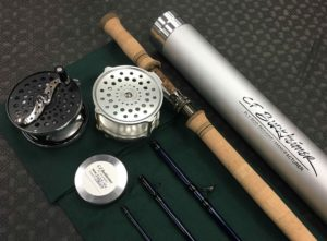 "A CF Burkheimer 7127-4 Spey Rod with two Hardy Fly Reels - A Hardy 4"" Bougle & A Hardy 8/9 Cascapedia."