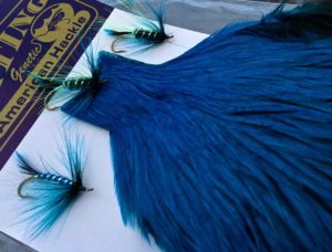 Whiting Farms Genetic American Rooster Cape - Badger Dyed Kingfisher Blue
