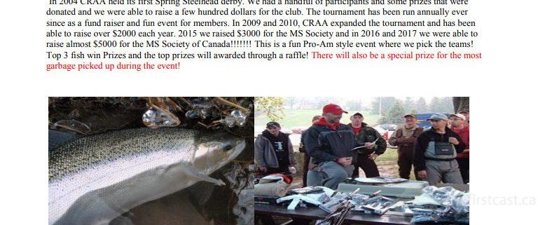 2018 CRAA Credit River Anglers Association Steelhead Tournament