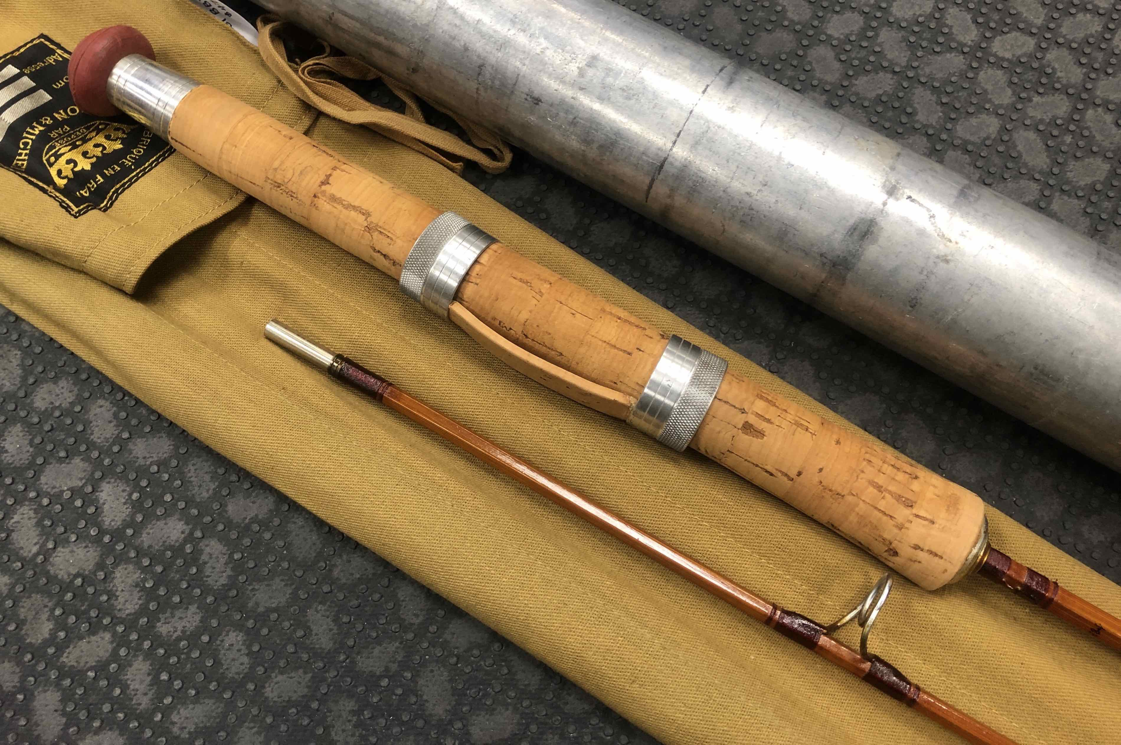 """Collectors Edition - Pezon and Michel - 2Pc - 6' - Bamboo Spinning Rod - From 1952 - Made in France - """"Sporting Model BB2"""" - Removed from Sock twice - FANTASTIC CONDITION! - $475"""